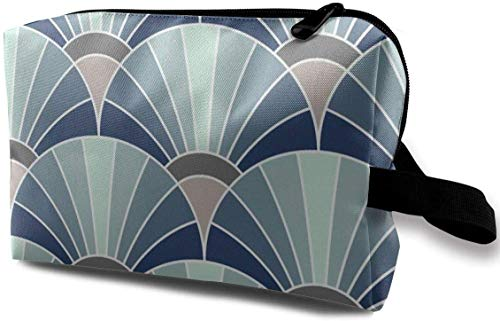06533833 Fan Scale Trendy1 Blue_6940 Toiletry Bag Cosmetic Bag Portable Makeup Pouch Travel Hanging Organizer Bag for Women Girl 10x5x6.2 inch