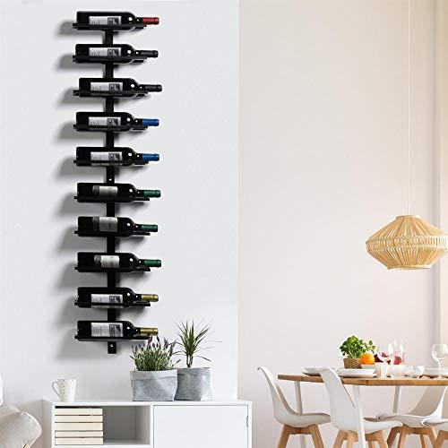 Yaheetech Portabottiglie Vino da Parete Scaffale Metallo Vino Porta 10 Bottiglie Mobile Portabottiglie di Altezza 126 Nero