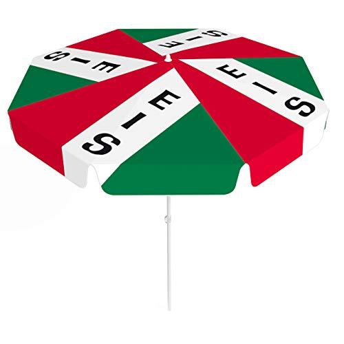 Vispronet® Sonnenschirm, rund, Volant ∅ 180 cm Italienisches EIS ✓ 2-teiliger Schirmstock ✓ 4-teilig Bedruckt ✓ Durchdruck des Motivs ✓ kippbar (Fußball-volant)