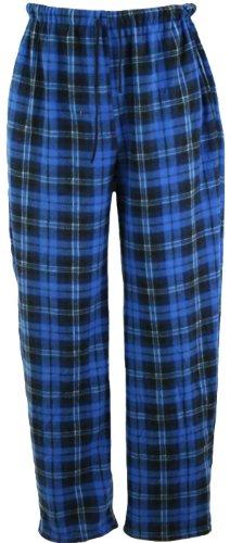 i-Smalls Herren Klassischer Karierter Polar Unterteil Pyjama Fleece Flausch Hausanzughose Schlafanzughose Nachtanzug (Blau) XL - Fleece Pyjama-hosen