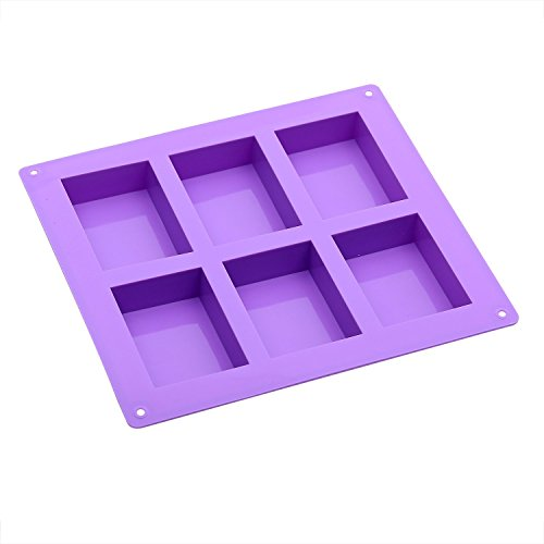 Goodlucky365 6 Cavity Basic Rectangle Silicone Mould 6 Cavity Petite Silicone Mould for Homemade Craft Soap Moulds, cake moulds, Ice cube tray