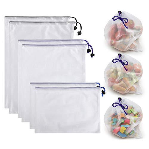 Btsky-Einkaufstaschen/Aufbewahrungsbeutel, wiederverwendbar, umweltfreundlich, waschbar, aus Netzstoff, mit Kordelzug, Textil, Multicolor/White, 6er-Set