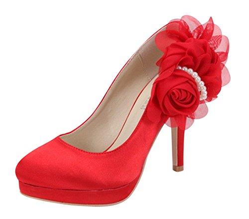 Chalmart Escarpin à Plateforme élégant Chaussures De Talon Mariage Mode Rouge