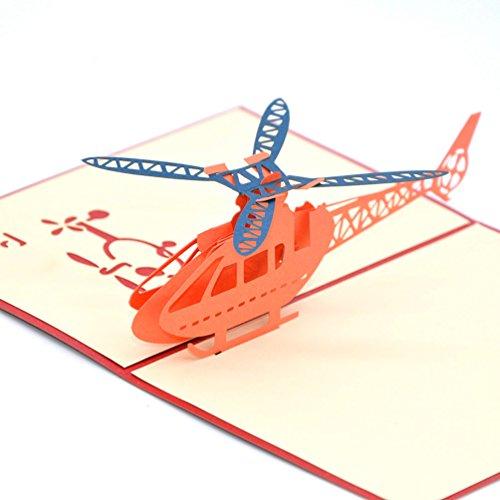 Medigy 3D POP UP Grußkarte Handgemacht Blume Korbp Hubschrauber Blanko-Karten Segen Papier Klappkarten Business Geschenkkarte Glückwunschkarten