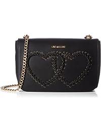 Love Moschino - Borsa Calf Pu Nero, Shoppers y bolsos de hombro Mujer, Schwarz (Black), 17x28x10 cm (W x H D)