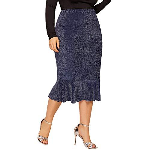 Amphia - Rock Damen,Beiläufige elastische Taille der Frauen Plus Größen-Fischschwanz-Rand-Rüschen-Funkeln-Rock