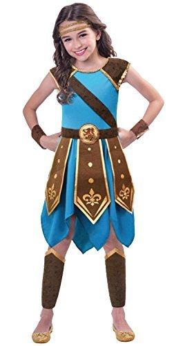 Krieger Kostüm Königreich - Fancy Me Mädchen Römische Kriegerin historisch Gladiator grichischer 3-TLG. Welttag des buches-Tage-Woche Kostüm Kleid Outfit 5-12 Jahre - 7-8 Years