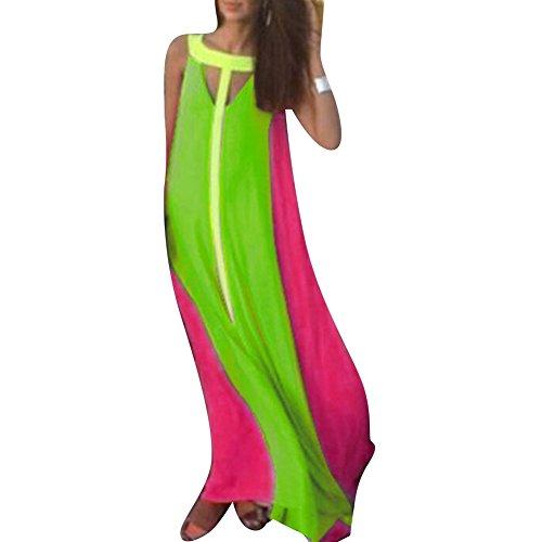 Pinkyee Damen Kleid Large leuchtend grün