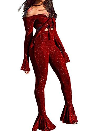 Frauen Zweiteilige Outfits Jumpsuits trägerlos ausgestellte Ärmel Schiere Mesh durchschauen Crop Top hohe Taille Hosen Set -