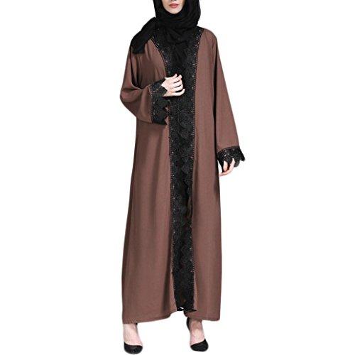 Oyedens Muslim Abaya Frauen Islamische Kleidung Muslimische Kleid Kimono islamischen Langen Mantel Nahost langes Gewand Damen Embroidery Ramadan Dress Robe Strickjacke (XL, Kaffee)