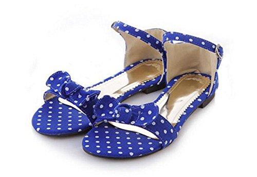 Zapatos Planos Sandalias Peep Toe Sandalias De Verano Imprimir Tela Mariposa Panel Hebilla Sandalias Mujer Tamaño Grande Azul