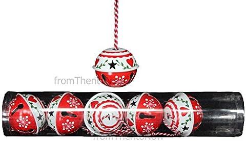 Gisela Graham rot & weiß groß 6er Set Jingle Sleigh Bells Weihnachten Weihnachtsbaumschmuck