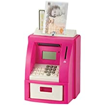 Kids Digital ATM Money Bank Machine Saving Real Coin Note Count Calculates total Balance Display Current Cash Pin Secure Alarm Clock Pink by Sabar
