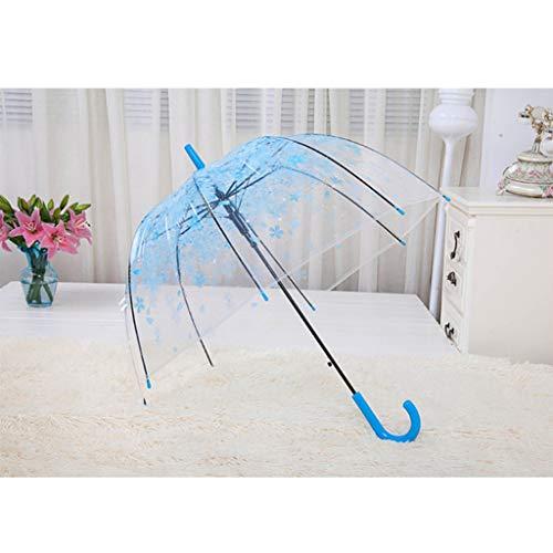 Dabixx Transparenter Regenschirm,Watch Strap für Romantischer klarer Blumen-Blasen-Hauben-Regenschirm halb automatisch für starken Regen - Blau