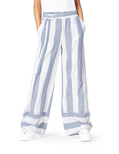 FIND Damen Weite Streifen-Hose, Blau (Ecru Blue), 46 (Herstellergröße: 3X-Large)
