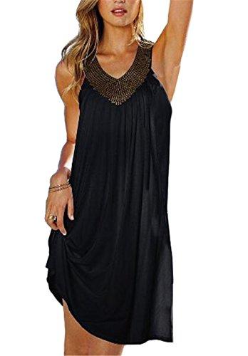 AILIENT Mode V-Ausschnitt Ärmelloses Faltenrock Sommerkleid Strandkleid Minikleid Oberteile Lose Freizeitkleider Partykleid