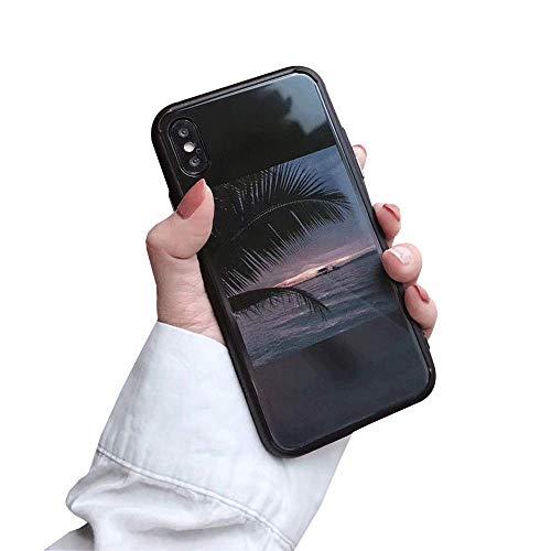 iPhone 7iPhone 8Fall Elegant Vintage Scenery Muster gehärtetes Glas Back Cover mit Weicher TPU Frame Stoßdämpfung 360Grad Full Body Starken Schutz Extreme Slim, iPhone 7plus/8plus- Black -