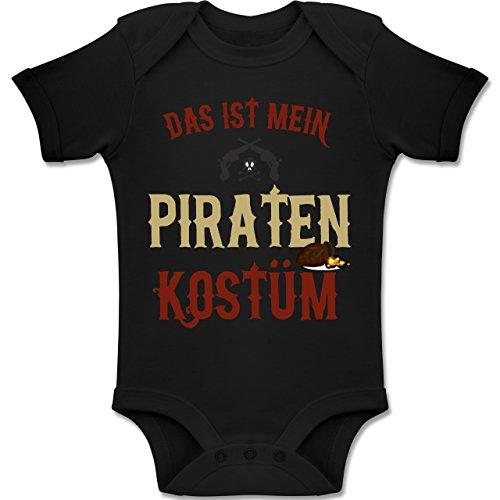 Karneval und Fasching Baby - Das ist Mein Piraten Kostüm - 18-24 Monate - Schwarz - BZ10 - Baby Body Kurzarm Jungen Mädchen (Holzbein Piraten Kostüm)