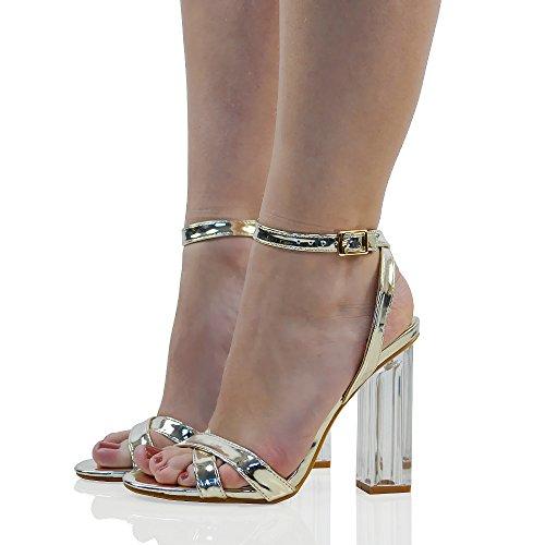 ESSEX GLAM Damen Durchsichtige Sandalen Plexiglas Absatz Knöchelriemchen Absatzschuhe Gold Metallic