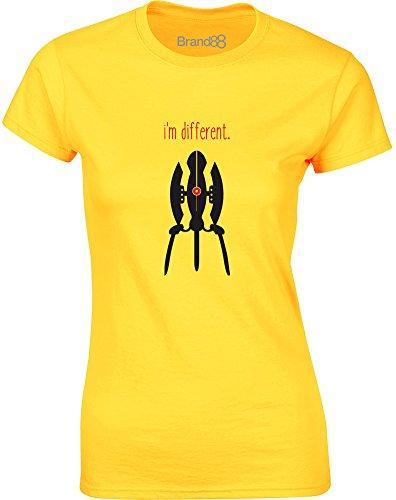 Brand88 - I'm Different, Gedruckt Frauen T-Shirt Gänseblümchen-Gelb/Schwarz