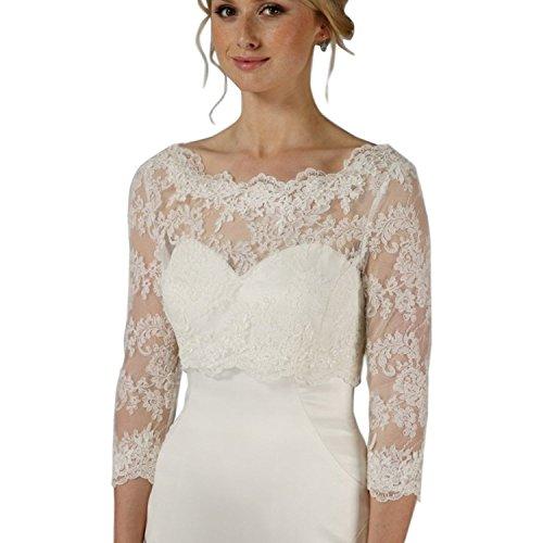 Damen 3/4 Langer Ärmel Weiß Hochzeit Top Spitzen-Jacke für die Braut Spitzen Bolero Bolerojäckchen Jacke (Weiß, 40-46)