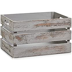 Caja de Almacenamiento, Madera, Gris, 35x25x20 cm