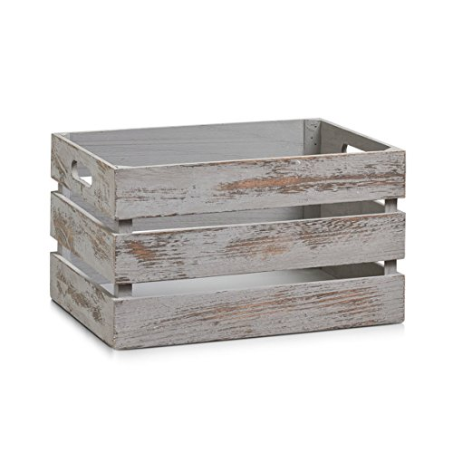 Zeller 15137 Aufbewahrungs-Kiste, Holz, vintage grau, 35 x 25 x 20 cm