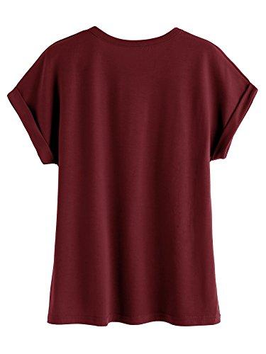 Romwe Damen Top mit Spruch Buchstaben Sommer T Shirt Burgundy(not today)