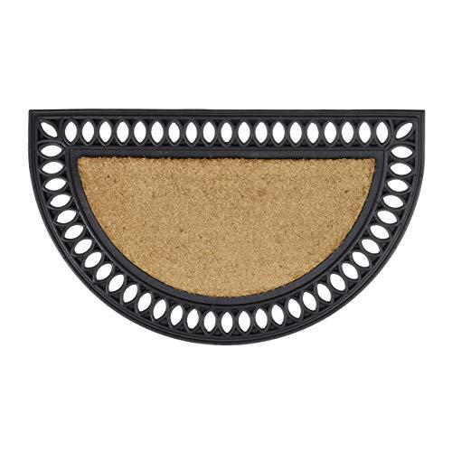 Relaxdays Wetterfeste Kokos halbrund mit Gummi in Gusseisen-Optik als Türvorleger und Schmutzfangmatte witterungsbeständig Rutschfest als Gummimatte HBT: 2 x 75 x 45 cm, Natur und schwarz Fußmatte