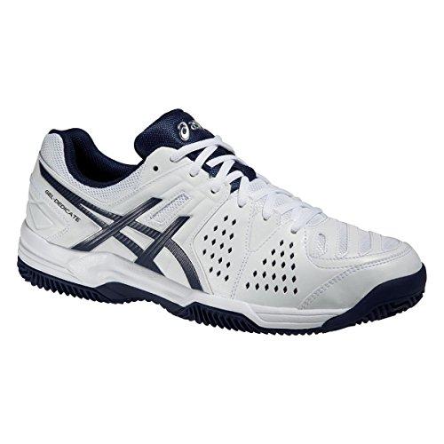 Asics Herren Tennis Schuhe Gel-Dedicate 4 Clay E508Y White/Navy/Silver 41.5