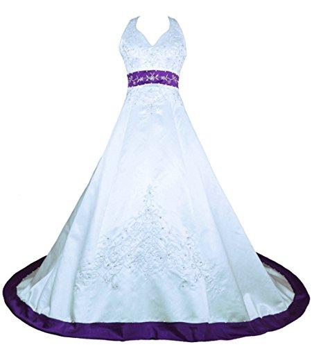 Vantexi Damen Halfter Stickerei Satin Hochzeitskleid Brautkleider Weiß Lila 60