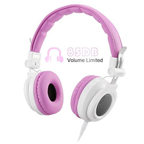 Cuffie per bambini con cavo da 3,5 mm jack, agptek auricolari leggero e regolabile per bimbi con limitazione volume massimo di 85db, ideale regalo per bambini 6-12 anni, colore rosa