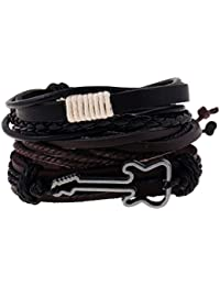 Aspiredeal Multi Strand PU Leather Braided Cord Guitar Music Lover Charms Wrap Wristband Men Women Fashion Punk Rock Wristband