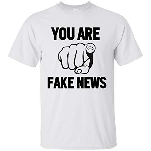 cdea627391d6e8 Half White T-Shirt You Are Fake News - Mr President Elect Trump - T