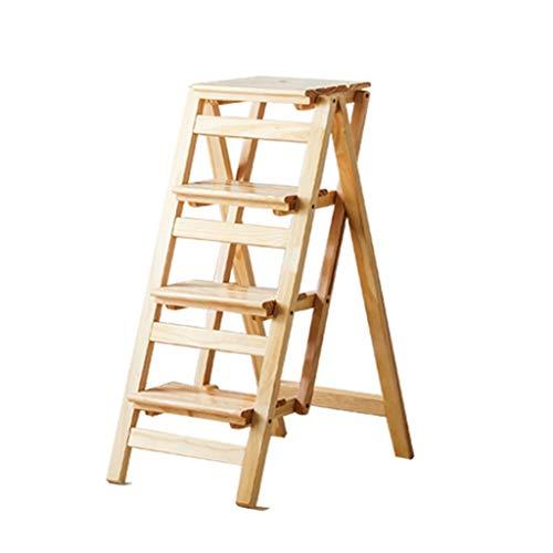 JJHOME-Faltbare Leitern 4 Schritt Folding Trittleiter/Treppenhaus Stuhl Holz Multifunktions...