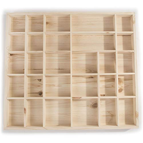 Search Box Wooden Trinket Display Shelf with 28 Compartments | Lenght 450 x Width 400 x Thickness 35mm | Wall Hanging Unit Shelves Organiser | Unpainted & Untreated Natural Wood to Decorate