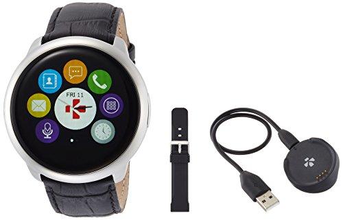 MYKRONOZ Uni Zeround Premium mit Lederarmband Smartwatch Fitnesstracker, Schwarz (Krzeround-Prem-Lea-Black)