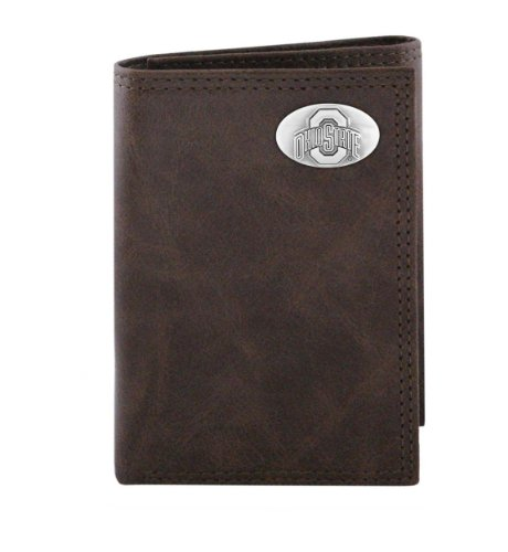 ZEP-PRO NCAA Ohio State Buckeyes Brown Wrinkle Leather Trifold Concho Wallet, One Size - Gelbe Tri-fold Wallet