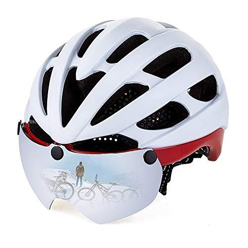 Aiong Fahrradhelm, Fahrradhelm CPSC Safety Standard Verstellbares Fahrrad/Kletterhelm mit magnetischem Visier & LED-Sicherheitsrücklicht für Erwachsene Jugend Männer/Frauen Berg & Straße -