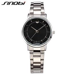 Relojes Hermosos, Mujer Reloj de Moda Cuarzo Resistente al Agua Aleación Banda Plata Marca- SINOBI ( Color : Plateado , Género : Para Mujer )