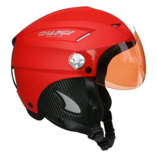 Charly Loop, Gleitschirm- und Skihelm mit abnehmbarem Visier und Helmschutzbeutel, matt rot, Größe XL