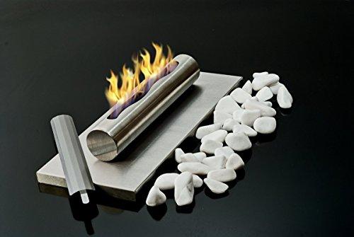 Preisvergleich Produktbild Tisch Bio- und Ethanol-Kamin aus Edelstahl Bio-Ethanolkamin gebürstet Inox