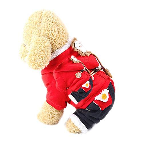 Homeyou Haustier Kleidung Hund Vierbeiner Red Lion Pet Kapuzenmantel Pullover Hund Overall Welpe Warme Weiche Pjs Kleidung für Hund (Pet Lion Kostüm)