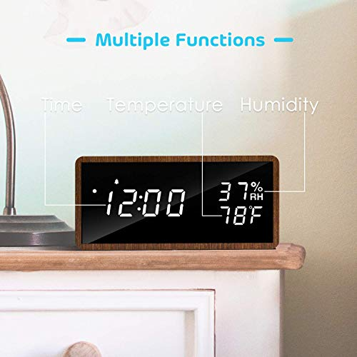 meross LED Digital Alarma Despertador,  3 Alarmas,  3 Niveles de Brillo. Muestra Tiempo,  Temperatura y Humedad,  Incluye Cable USB. Adecuado para Familias,  Dormitorios,  Guarderías y Oficinas MC101.