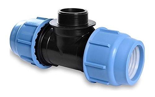 'PP connecteur de serrage pour tuyaux en PE Té 25 mm x 3/4 filetage extérieur
