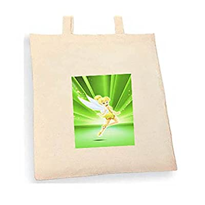 Tinkerbell Tote bag. Beige cotton bag, Cotton Tote Bag, Can be used as a bag for life shopping bag, handbag, fashion bag, school bag, beach bag, shoulder bag. - handmade-bags