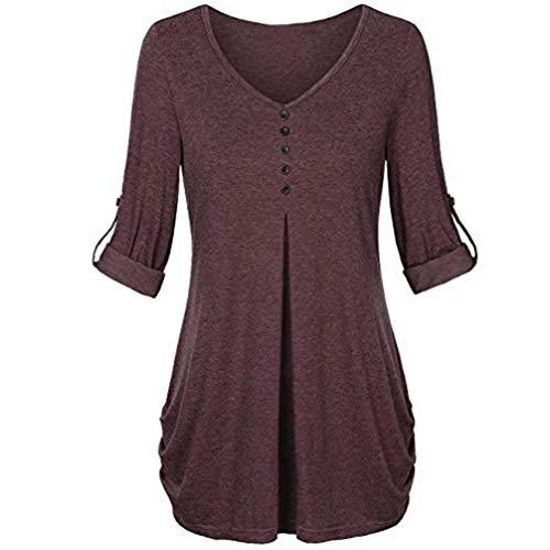 Damen Tops Bluse SUNNSEAN Frauen Langarm Herbst Knopf Einfarbig Lose Tuniken V-Ausschnitt T-Shirt...