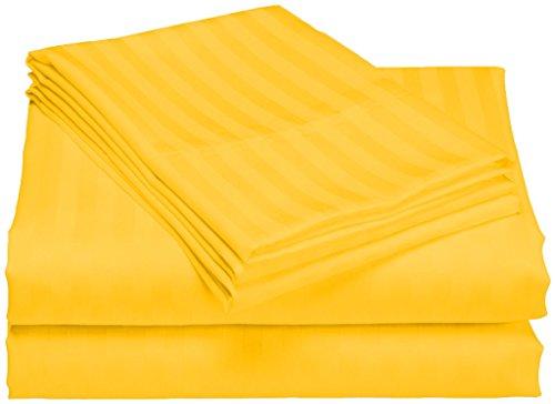 SCALABEDDING 100% ägyptische Baumwolle 500TC 23Zoll Extra Tiefe Tasche Spannbetttuch Full XXL gelb gestreift (Full Extra Tiefe Spannbetttuch)