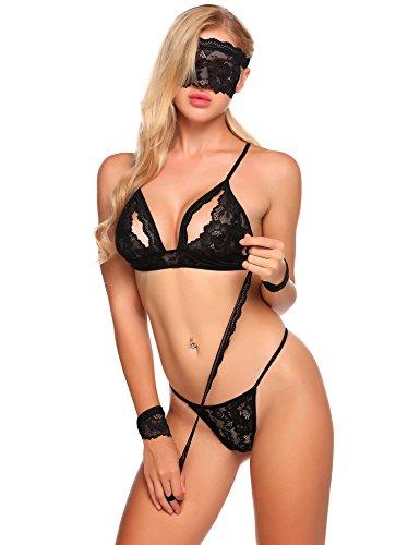 Caeasar Frauen Sexy Babydoll 4 Stück Dessous Set Reizwäsche Unterwäsche mit G-String Manschetten und Augenmaske, Größe S, Farbe Schwarz