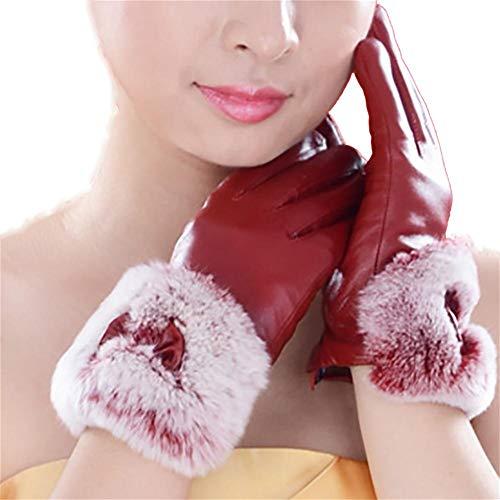 PLYY Guanti in Pelle Lady Rabbit Bocca Inverno Caldo Velluto Ispessimento Pecore Guanti Pishu Touch Screen out, Rosso